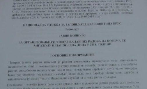 Javni pozivi za podsticaj zapošljavanja u opštini Brus