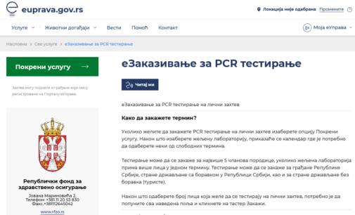 Na portalu eUprava zakazivanje PCR testiranja